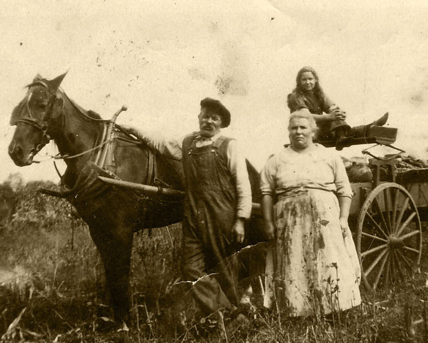 family, horse, man, woman, daughter, work, old photograph, 1905