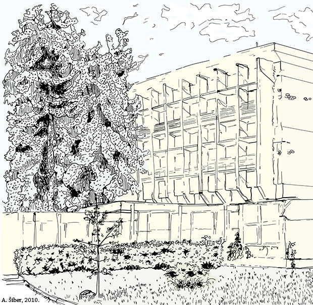 institute, building, sketch, skica, trees, grass
