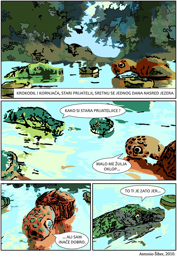 strip, comic, turtle, crocodile, lake, kornjača